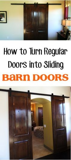 How to Turn Regular Interior Doors into Sliding Barn Doors! | TheFrugalGirls.com