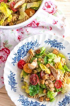 Lighter Chicken Caesar Pasta Salad | savorynothings.com