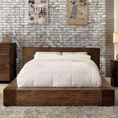 Lowest price online on all Furniture of America Elbert Queen Platform Bed in Rustic Natural - Furniture, Bed Design, Home, Bed Frame, Bedroom Design, Bedroom Sets, Furniture Of America, Bed Frame Sets, Upholstered Platform Bed