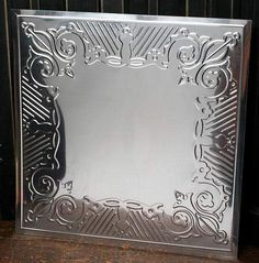 """12"""" Galvanized Metal Embossed Tin Gothic Scroll Ceiling Tile"""