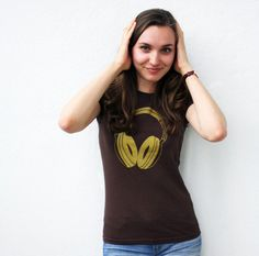Gold Headphones ladies hipster t-shirt by Blackbird and Peacock