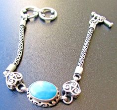 Sterling Silver Turquoise Bracelet Wheat Chain Openwork Heart Toggle 6 3/8 7 1/4 #Unbranded
