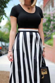High waisted knee length black and white striped skirt, black crop ...