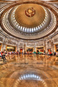 U.S. Capitol Rotunda, Washington D.C. The rotunda is 96 feet (29 m) in diameter and rises 180 feet 3 inches (54.94 m) to the canopy.