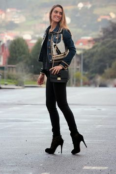 Denim & Gold Outfit. Follow the link to see all the pics on my blog.  http://www.bymedidri.com/2013/11/denim-gold-jacket.html