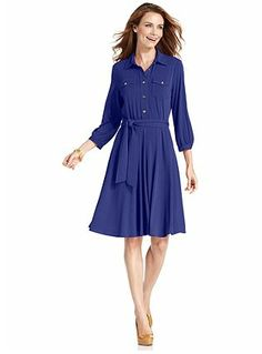 MADEMOD - NY Collection Dress, Three-Quarter-Sleeve Belted Shirtdress – Macy's – $34.99