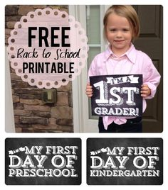 FREE Back to School Chalkboard Printables from kindergarten all the way up to senior year! Take photographs on first day of school every year for your kids scrapbook. Photo props for children and teens Back 2 School, 1st Day Of School, Beginning Of School, School Days, School Buses, School Stuff, School Lunch, School Starts, School 2017