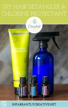 DIY Hair Detangler Spray & Chlorine Protectant is a perfect DIY hair conditioner to keep your hair looking healthy during the summer. #essentialoils #hair #hairproducts #summerhair #haircare #doterra