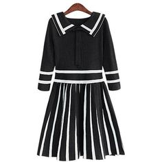 Yoins Black Doll Collar Stripe Pleated Knitted Dress ($27) ❤ liked on Polyvore featuring dresses, black, baby doll collar dress, doll collar dress, collar dress, stripe dresses and doll dress