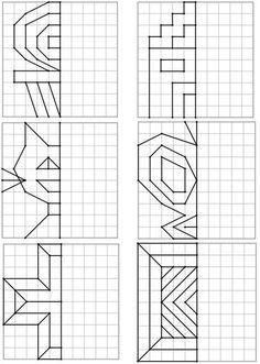Voici un nouveau dos Math Games, Preschool Activities, Preschool Writing, Symmetry Math, Graph Paper Art, Kids Math Worksheets, Cycle 2, Math Art, Math For Kids