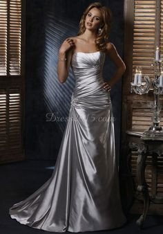 sweetheart Satin lace-up back Court Train Wedding Dress - Dress2015.com