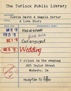Library Card Invitation Library Wedding by TheRedStarDesigns, $12.00