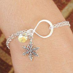 Sterling Silver Snowflake Bracelet  Swarovski by MyDistinctDesigns, $34.00