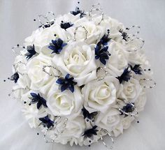 Navy Blue Wedding Bouquets | ... FLOWERS - BRIDES WITH 4 BRIDESMAIDS POSY BOUQUETS IN IVORY & NAVY BLUE