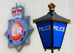 Blue Lamp and the Force Crest   The famous blue lamp –perhap…   Flickr North Manchester, Manchester Police, Emergency Response, Police Station, The Neighbourhood, How To Find Out, Blue, The Neighborhood