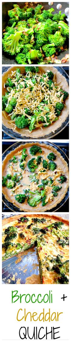 Broccoli and Cheddar Quiche- An easy and delicious quiche with step by step photo instructions from prep to plate!