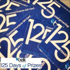 125 years and growing, and we're celebrating with 125 prizes.   We're more than halfway through. Have you entered yet? #belk125