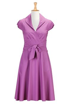 Radiant Orchid Poplin Dresses, Shawl Collar Cotton Shirtdresses Shop Women's Dresses: Beautiful and Affordable Dresses for all Occasions | e...