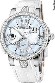 Ulysse Nardin Executive Dual Time Ladies $14,673 #UlysseNardin #watch #watches #chronograph Stainless Steel set with 60 diamonds