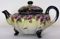Vintage Nippon Porcelain Teapot Hand Painted Violets Flow Blue (around the turn of the century)