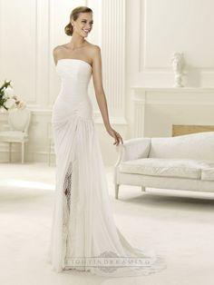 2014 Charming Flattered Strapless Draped Wedding Dress with Split Skirt