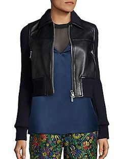 3.1 Phillip Lim Leather & Wool Cropped Jacket