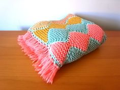 Vintage Crochet Afghan Throw With Fringe