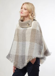 Woven Wool Amy Cape: A truly unique piece, the Amy Cape is a luxurious, made in Ireland fashion statement. The generous high collar is enhanced with a single signature button. Irish Clothing, Ireland Fashion, Woolen Mills, High Collar, Summer Collection, Celtic, Spring Fashion, Amy, Luxury Fashion
