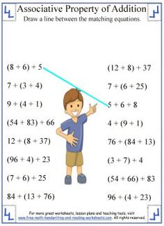 math worksheet : associative property of addition  addition worksheets  pinterest  : Math Properties Worksheets