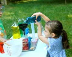 Play potion lab, with recycled bottles, funnels, eye droppers, water and food coloring. First Grade Activities, Science Activities, Science Projects, Activities For Kids, Science Party, Mad Science, Preschool Ideas, Crafts For Kids, Backyard Water Games