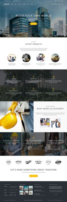 Bricks is beautiful responsive premium #WordPress Theme for Construction & #Building business #website with 4 stunning layouts and great features. Download Now! http://amzn.to/2rsjy6P J'aime l'utilisation d'image ronde qui brise un peu le rythme du site mais qui reste esthétique. Utilisation d'images couleurs en bkg.