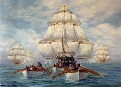 On 21 October 1797 United States Frigate Constitution was launched at the Hartts Boston shipyard, Boston, Massachusetts. Constitution is now the oldest commissioned ship in the U.S. Navy. This painting by Anton Otto Fischer, depicts Constitution's boats towing her in a calm, while she was being pursued by a squadron of British warships early in the War of 1812, on 18 July 1812.