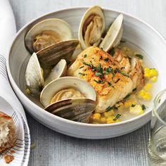 """Ten-Minute Salt Cod with Corn and Littleneck Clams 