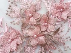 Bridal Beaded Flower Lace Applique , Ivory Pink Champagne Navy Black Grey Embroidered Applique Lace by Piece Beaded Lace, Beaded Flowers, Blossom Flower, Bridal Lace, Lace Applique, Flower Making, Lace Fabric, Wedding Accessories, Machine Embroidery Designs