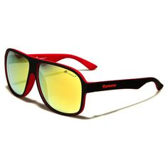 Oxigen Unisex Rubberized Plastic Two-Toned Frame Glasses Black/Red with Yellow Revo Lens Red Sunglasses, Lens, Plastic, Unisex, Yellow, Frame, Black, Picture Frame, Black People