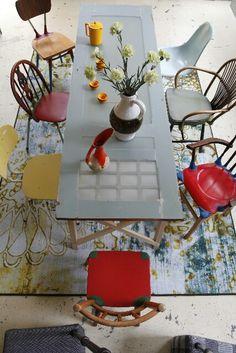 Oude deur gebruikt als tafel! Op zoek naar oude deuren? Vindt ze hier: http://www.destijdsch.nl/shop/deuren/oude_deuren