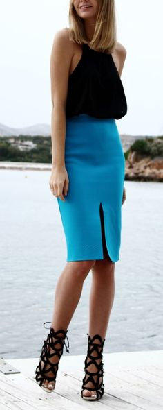 Channel the ocean and sky with a blue pencil skirt this season.