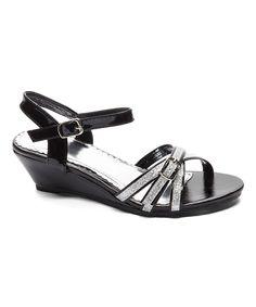 Black & Silver Glitter Wedge Sandal