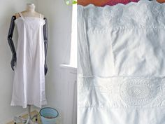 Antique Nightgown White cotton Full lenght by SuitcaseInBerlin