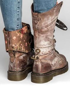 35007d495f972 Cool PU leather Lace-up Middle Martin Boots. Cowboy Brown Color Floral  print Women Vintage ...