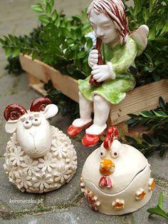 Ceramika - anioł, baranek, kurka