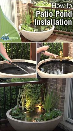 Creative Casa: Backyard Pond Ideas for your home. Beautiful Planted Zen Container Pond garden decor Creative Casa: Backyard Pond Ideas for your home. Patio Pond, Diy Pond, Backyard Landscaping, Backyard Patio, Diy Patio, Patio Gardens, Landscaping Ideas, Backyard Stream, Fish Pond Gardens