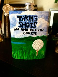 Golf Gifts Taking shots on and off the course, golf painting flask by Allison Williams. More diy golf crafts at Golf Painting, Cooler Painting, Fraternity Coolers, Frat Coolers, Home Putting Green, Formal Cooler Ideas, Bubba Keg, Golf Ball Crafts, Golf Outing