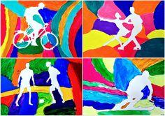 Painting the background to create the figure: positive & negative space Middle School Art, Art School, 6th Grade Art, School Art Projects, Art Lessons Elementary, Sports Art, Art Classroom, Summer Art, Art Plastique