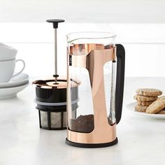 Elevate the look of your countertop with this gleaming copper-finish French press. Espro has perfected French press coffee with its unique two-filter system that yields a richly flavored, grit-free cup every time. Espresso Machine Reviews, Coffee Maker Reviews, Pour Over Coffee Maker, French Press Coffee Maker, Coffee Brewer, Coffee Pods, Best Espresso, Espresso Coffee, Espresso Maker