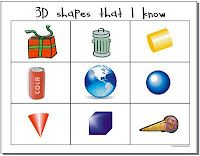 3D shape bingo - students describe instead of calling out the name.      (K.G.1.d.,  K.G.3.b.,  K.G.4.b.)