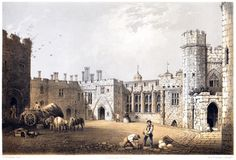 Berkley Castle, Gloucestershire.  F. W. Hulme, from The baronial halls, and ancient picturesque edifices of England vol. 2, by Samuel Carter Hall, London, 1858.  (Source: archive.org)