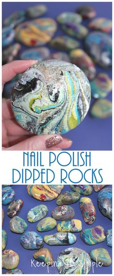 Painted Rocks Nail Polish Dipped Rocks is part of Kids Crafts Easy Nail Polish - These painted rocks are done by dipping them into nail polish and they are so cool! A perfect activity for the kids and the whole family! Kids Nail Polish, Nail Polish Painting, Nail Polish Crafts, Nail Art, Nail Polish Colors, Stone Crafts, Rock Crafts, Nude Nails, Matte Nails
