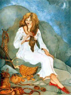 """40. Moura de Pena Molexa Cuenta la tradición que en la mañana de San Juan, """"en la hora misteriosa en que aún no se puso la luna y el sol va queriendo salir"""", se puede encontrar en la Pena Molexa (Narón) una bella """"moura"""" que peina suhermoso cabello con peine de oro, rodeada de fabulosos tesoros. Al mortal que la contemple le es ofrecido escoger una de las joyas, la que sea más de su gusto."""