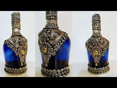 """Hey guys, Welcome to """"You and Craft"""". In this video we will be trying to create something antique out of waste glass bottle which can enhance the look of any. Painted Glass Bottles, Recycled Glass Bottles, Glass Bottle Crafts, Wine Bottle Art, Diy Bottle, Decorated Bottles, Decorative Glass Bottles, Diy Aromatherapy Candles, Jar Art"""